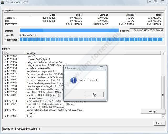 Hoe twee delige avi met srt(sub) ,samenvoegen met AVIMux_GUI ScreenHunter_63Jun281419