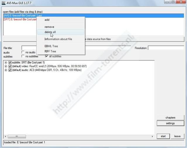 Hoe twee delige avi met srt(sub) ,samenvoegen met AVIMux_GUI ScreenHunter_64Jun281420