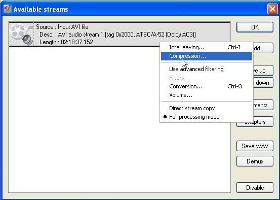 Avi knippen tot een sample VirtualDubMod005