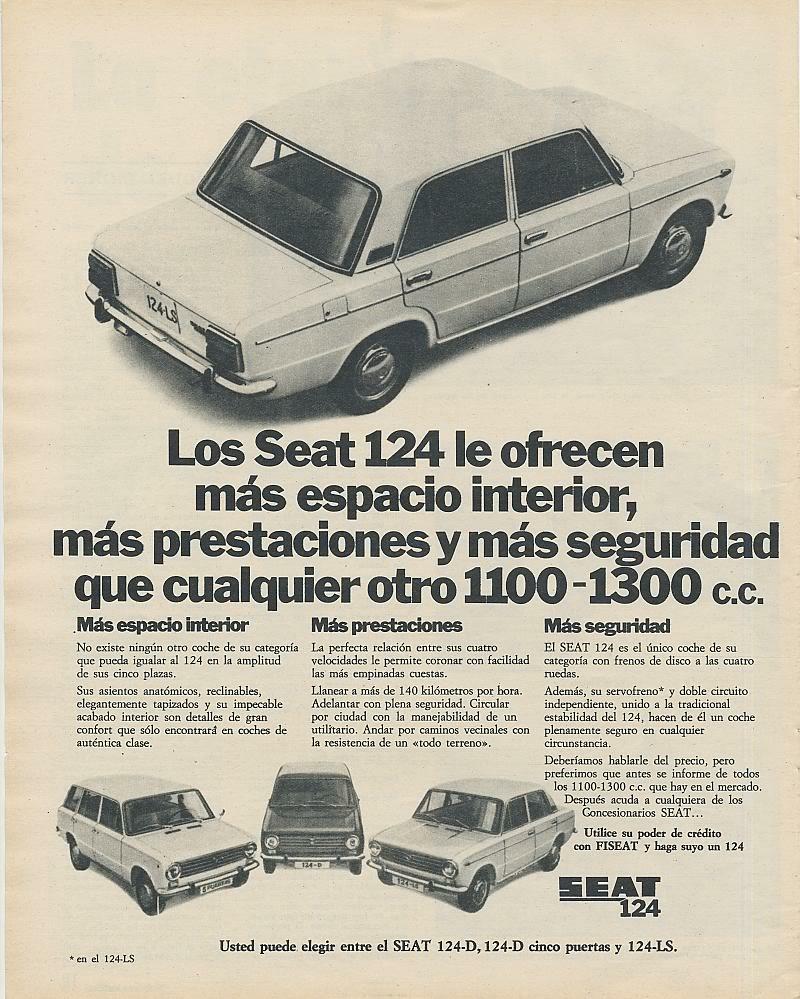 Publicidad de la epoca Seat 124 y Seat 1430 Adsa