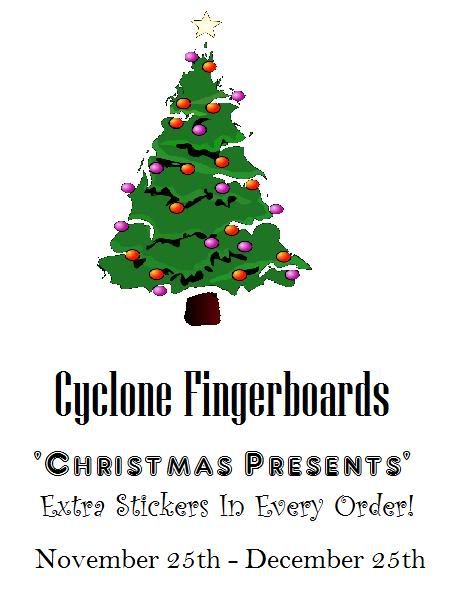 "Cyclone Fingerboards ""Christmas Presents"" Cyclone-ChristmasPresents-Logo"