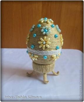 Пасхальные яйца из ткани, лент, джута.... 0dcda6186324637052d6e832262702c1