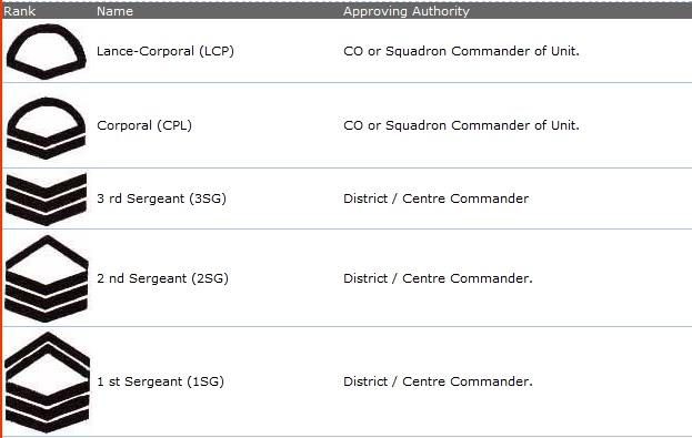 National Cadet Corp Ranks Ranks
