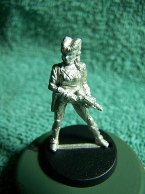 "33002 - Lancer (Lancer Faction) Plugger #1 (Female Lancer Crew Mate) – Bombshell Miniatures ""Counterblast"" 32mm Pewter (metal) figure FemaleHumanLancerPluggerFront_zpsf323989e"
