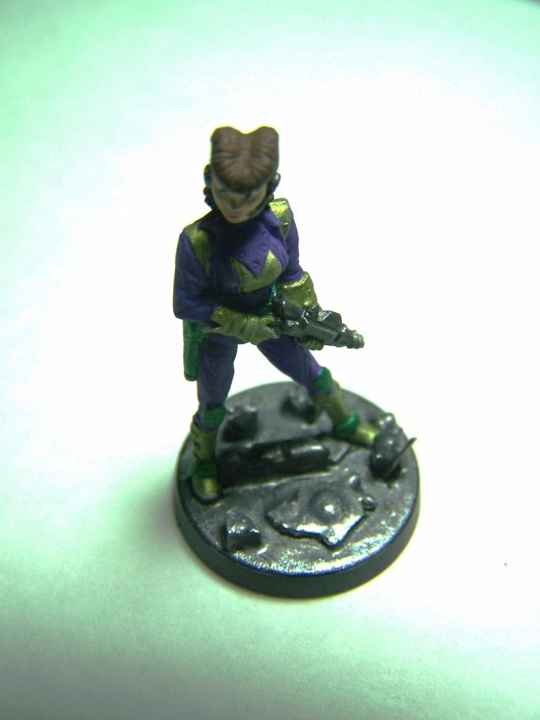 "33002 - Lancer (Lancer Faction) Plugger #1 (Female Lancer Crew Mate) – Bombshell Miniatures ""Counterblast"" 32mm Pewter (metal) figure LancerPluggerwithcompletedbase1_zps9652a44f"