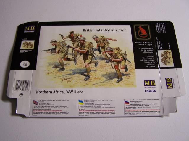 German Infantry, DAK, North Africa Kit 3- WW-II era in 1/35th Scale, Kit # MB3593 BritishInfantryDesertRatsfront