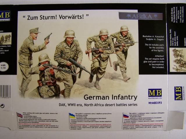 German Infantry, DAK, North Africa Kit 3- WW-II era in 1/35th Scale, Kit # MB3593 GrermanInfantryNorthAfricacombatsetboxfront
