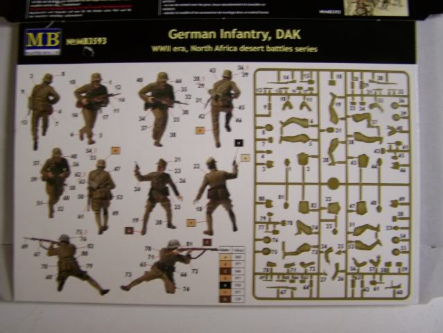 German Infantry, DAK, North Africa Kit 3- WW-II era in 1/35th Scale, Kit # MB3593 GrermanInfantryNorthAfricacombatsetboxrear