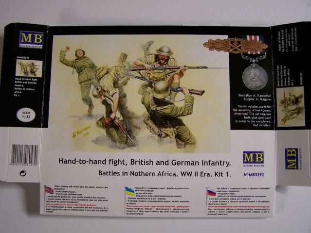 German Infantry, DAK, North Africa Kit 3- WW-II era in 1/35th Scale, Kit # MB3593 HandtoHandfightingBritishandGermanNorthAfricafront