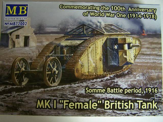 """Master Box MK 1 """"Female"""" British Tank Somme battle period, 1916 (WW-I) in 1/72nd Scale Kit # MB72002 MKIFemaleboxfront_zpsb39bac7c"""