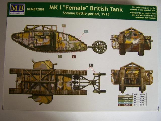 "Master Box MK 1 ""Female"" British Tank Somme battle period, 1916 (WW-I) in 1/72nd Scale Kit # MB72002 MKIFemaleboxrear_zpsad26977d"