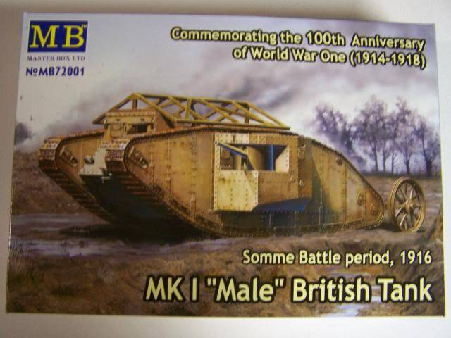 "Master Box MK 1 ""Male"" British Tank Somme battle period, 1916 (WW-I) in 1/72nd Scale Kit # MB72001 MKIMaleboxfront_zpsbff1f787"