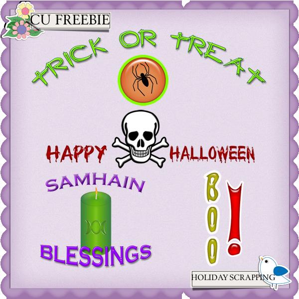 CU Freebie Halloween Word Art WART-PREVIEW