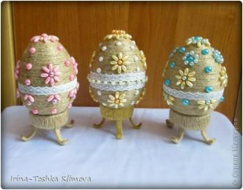 Пасхальные яйца из ткани, лент, джута.... 19ad418993a3ae4bfcb0b3c8cb8850a9