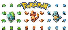 Pokemon series overworld sprites! Gen1-starters-1
