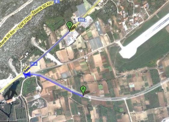 Split - Kaštela/Resnik (SPU / LDSP) Route409toSplit-GoogleMaps_12530454