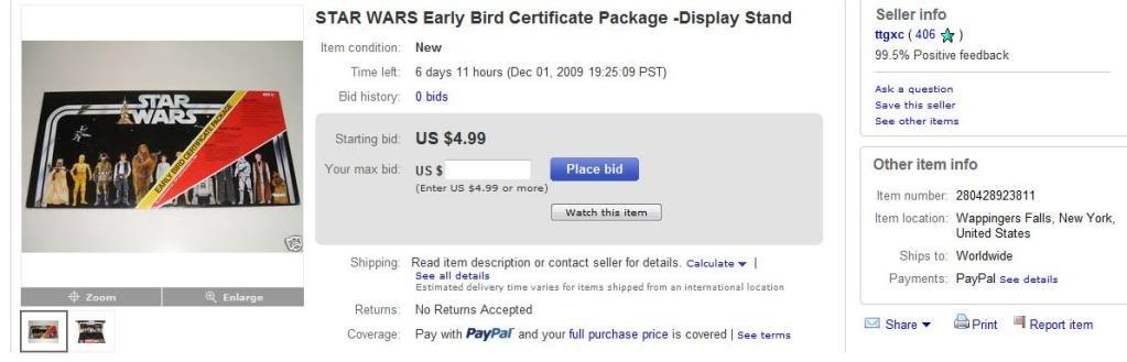 Reissue Early Bird Advertised as Original FAKEEARLYBIRDCERT