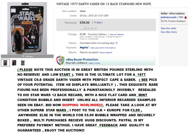 Vintage Star Wars Recards - Some Folk have more money than sense! VaderRecard