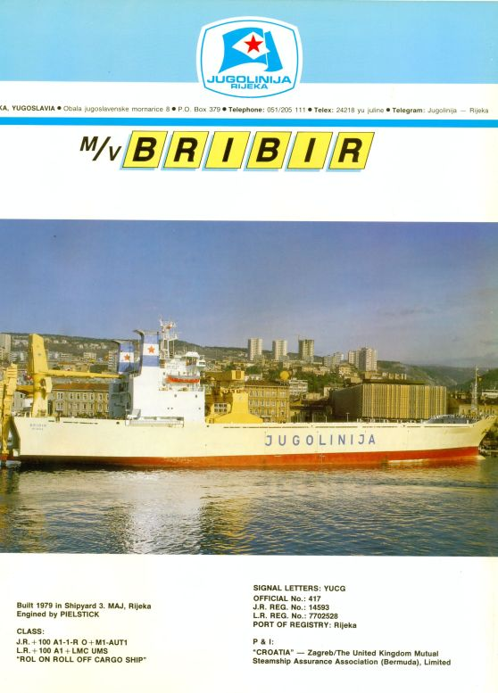 """Katalog brodova """"Jugolinije"""" iz 1990. godine Bribir1mali"""