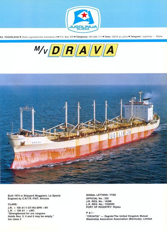 """Katalog brodova """"Jugolinije"""" iz 1990. godine Drava1mali"""