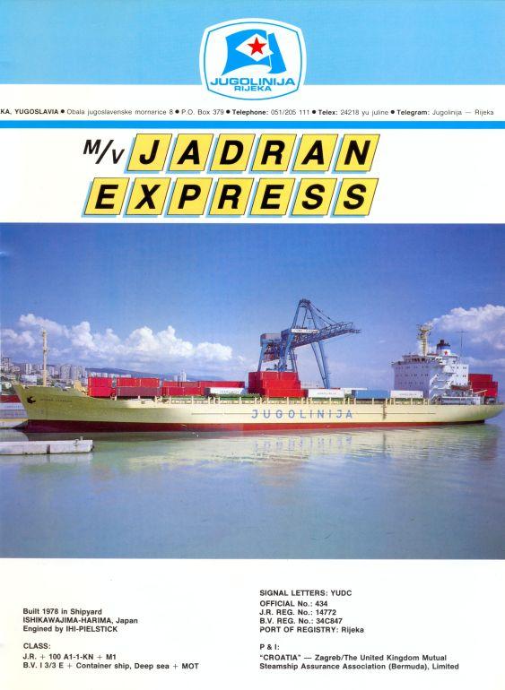 """Katalog brodova """"Jugolinije"""" iz 1990. godine JadranExpress1mali"""