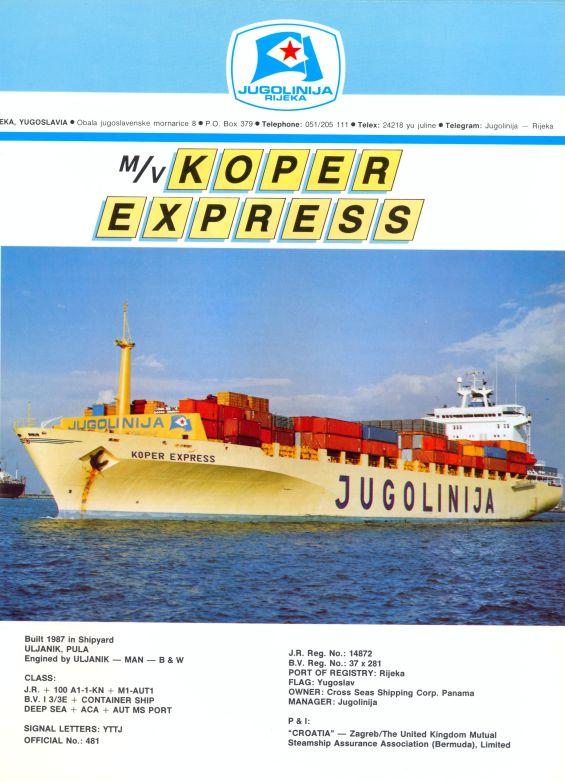 """Katalog brodova """"Jugolinije"""" iz 1990. godine KoperExpress1mali"""