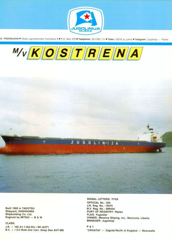 """Katalog brodova """"Jugolinije"""" iz 1990. godine Kostrena1mali"""