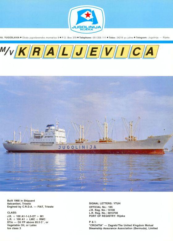 """Katalog brodova """"Jugolinije"""" iz 1990. godine Kraljevica1mali"""
