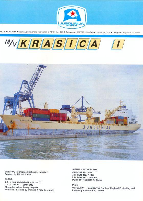 """Katalog brodova """"Jugolinije"""" iz 1990. godine Krasica1mali"""