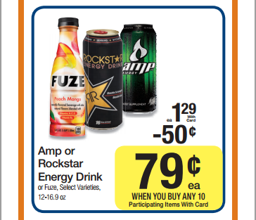 3.16.12 Rockstar and AMP 79 cents each at Smith's Grocery through March 20th Capture