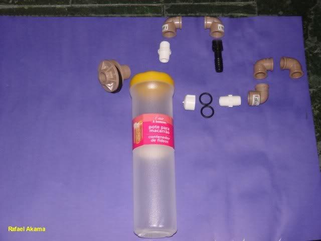 Filtro de areia fluidizada com Pote de Macarrão 01_material