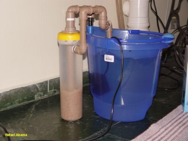 Filtro de areia fluidizada com Pote de Macarrão 08_teste_balde_on