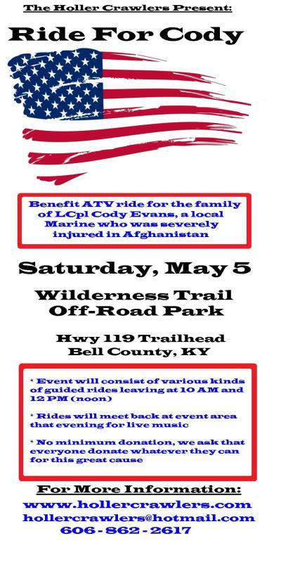 Benefit ATV Ride for LcCpl Cody Evans this Sat, May 5 RideForCodyflier