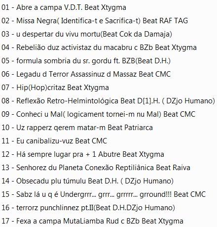Forum gratis : Horrorcore Brasil - Portal Raftag_demonocracia_TrackList