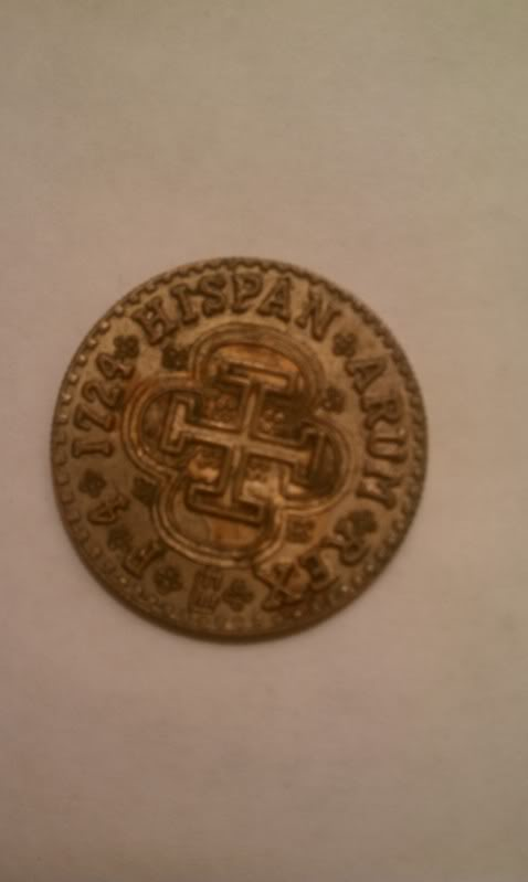 1724, 4 escudos...Is this coin real and what's it worth?   IMAG0370
