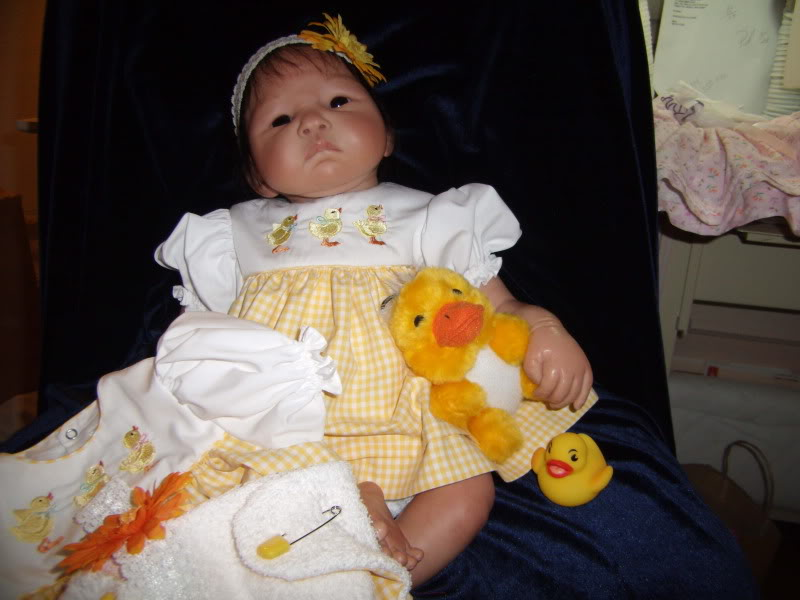 Ducky dress set;  dress, diaper cover and headband SOLD GEDC0869