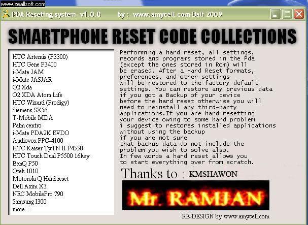 ALL in 1 PDA HARD RESET CODE Editorlx2