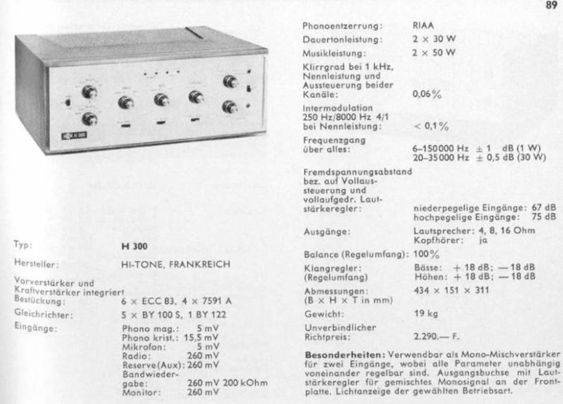 Amplificador a válvulas Hi-Tone H300 HI-ToneH300