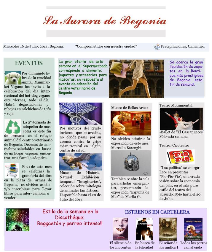 """Diario """"La Aurora de Begonia"""" (? 1-1"""