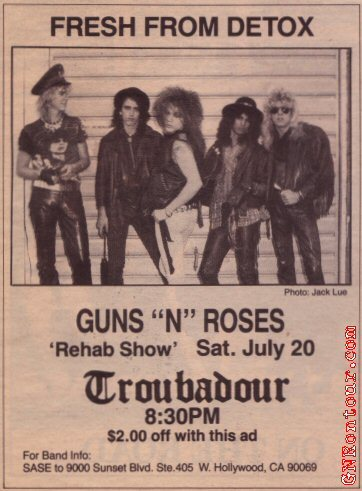 1985.07.20 - The Troubadour, Los Angeles, USA 19850720newspaperad