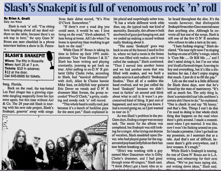 1995.04.17 - Michigan Daily - Slash's Snakepit is Full of Venomous rock 'n' Roll (Slash) Utennavn-58