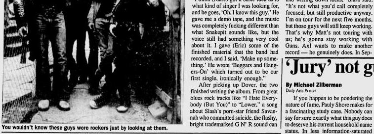 1995.04.17 - Michigan Daily - Slash's Snakepit is Full of Venomous rock 'n' Roll (Slash) Utennavn-59