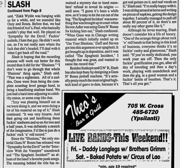 1995.04.17 - Michigan Daily - Slash's Snakepit is Full of Venomous rock 'n' Roll (Slash) Utennavn-61