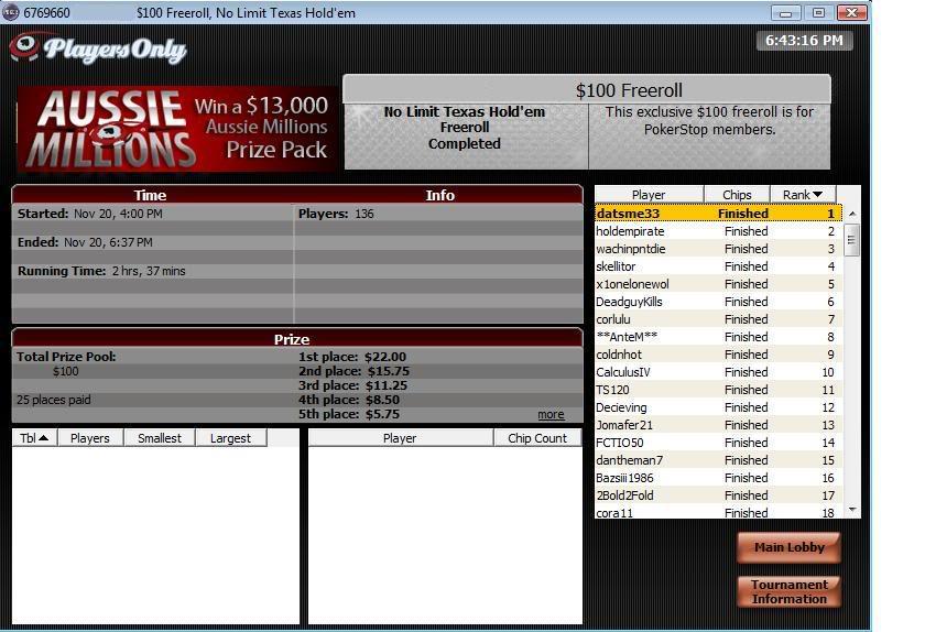 $100 Private Freeroll Win! 100PrivateFreerollWin2-1