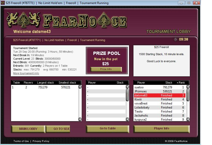 FearNoAce Final Table Finish! 09-29-09 FearNoAceFinalTableFinish09-29-09