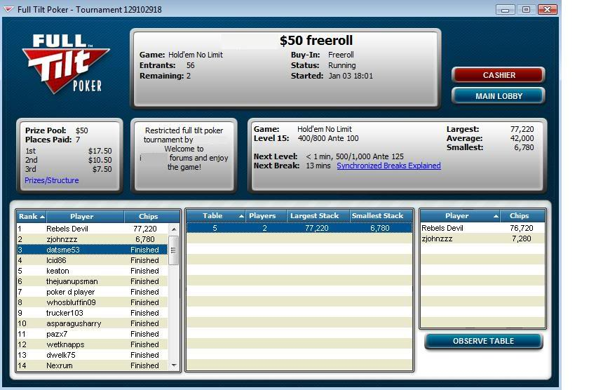 Final Table Finish in Private Tourney 01-03-10 FinalTableFinishinPrivateTourney-3