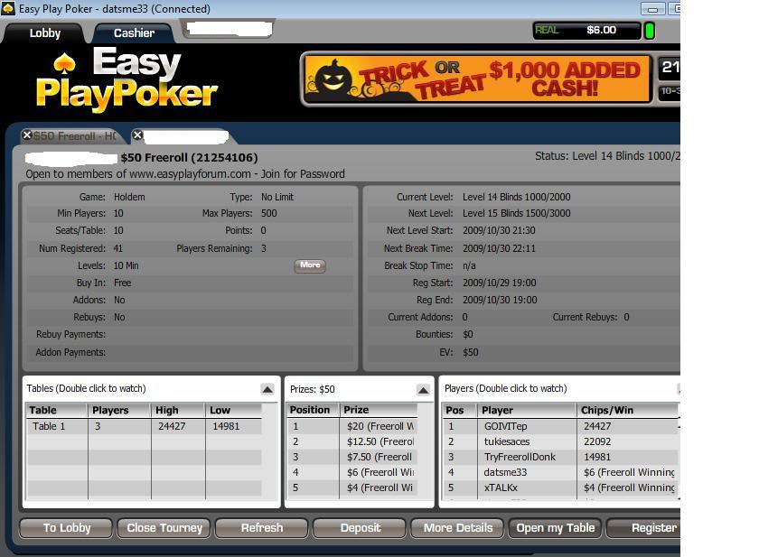 Final Table Finish in $50 Private Freeroll 10-30-09 FinalTableinprivate50Freeroll