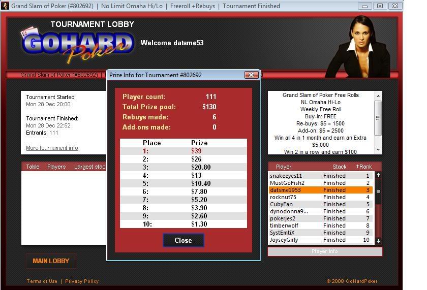 GoHard $100 Grand Slam Final Table Finish! 12-28-09 GoHard100GrandSlamFinalTableFinish1