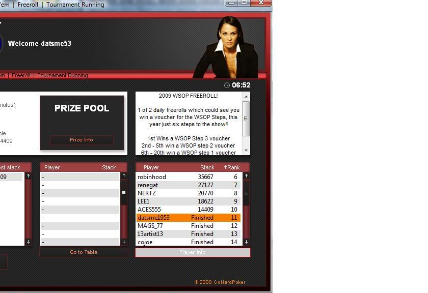 WSOP Step 1 Voucher Won at GoHard! GoHardWSOPStep1VoucherWon04-29-09