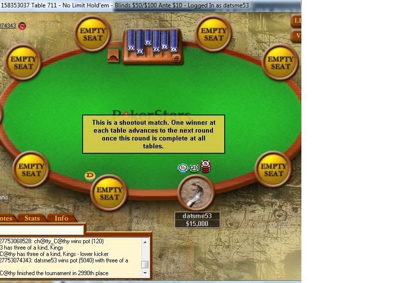 Poker Stars Freeroll to WSOP via 10 man SNG's got 1 win! PokerStarsShootoutwin05-02-09